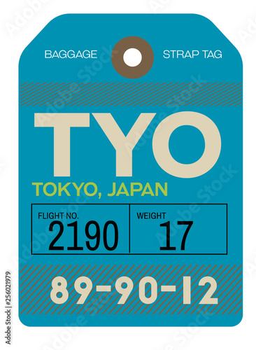 obraz PCV tokyo airport luggage tag