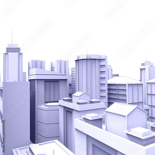 City skyscrapers  .Big cities cityscapes and buildings .3D rendering - Illustration .