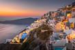 Santorini in Greece in summer hot sunset weather - 256045975