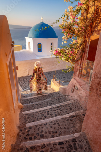 Santorini in Greece in summer hot sunset weather