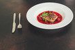 duck breast, vegetables, berry sauce and microgreen (main dish). food background. top view - 256048716