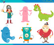 Cartoon Fantasy Characters Set - 256050998