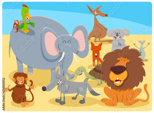 cartoon happy animal characters group