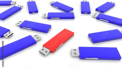 Usb flash drives in red and blue on white