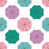 Seamless pattern with colorful flowers. Floral ornament background. Vector illustration.   - 256066504
