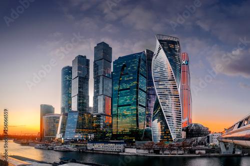 Moskau City Skyline bei Sonnenuntergang