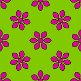 Seamless pattern with colorful flowers. Floral ornament background. Vector illustration.   - 256066705