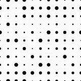 Black and white seamless pattern with grunge halftone dots. Dotted texture. Halftone dots background. Polka dot infinity. Abstract geometrical pattern of round shape.Screen print. Vector illustration - 256066736