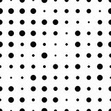 Black and white seamless pattern with grunge halftone dots. Dotted texture. Halftone dots background. Polka dot infinity. Abstract geometrical pattern of round shape.Screen print. Vector illustration - 256066776