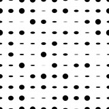 Black and white seamless pattern with grunge halftone dots. Dotted texture. Halftone dots background. Polka dot infinity. Abstract geometrical pattern of round shape.Screen print. Vector illustration - 256066901