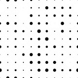 Black and white seamless pattern with grunge halftone dots. Dotted texture. Halftone dots background. Polka dot infinity. Abstract geometrical pattern of round shape.Screen print. Vector illustration - 256066914