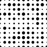 Black and white seamless pattern with grunge halftone dots. Dotted texture. Halftone dots background. Polka dot infinity. Abstract geometrical pattern of round shape.Screen print. Vector illustration - 256066933