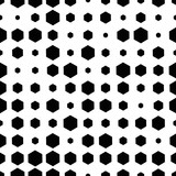Colorful abstract halftone seamless pattern with hexagon, geometric shapes. Vector illustration.  - 256066992