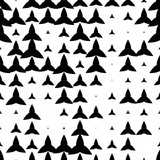 Black and white seamless pattern with grunge halftone geometric shapes, texture infinity. Abstract geometrical background. Screen print. Vector illustration. - 256067179