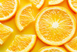 top view of orange slices in juice as background