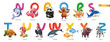 Zoo alphabet. Funny animals, 3d vector icons set. Letters N - Z Part 2. Narwhal, octopus, panda, quokka, rabbit, shark, turtle, unicorn, vulture, whale, x-ray fish, yak, zebra - 256091740