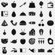 Gastronomy icons set. Simple style of 36 gastronomy vector icons for web for any design