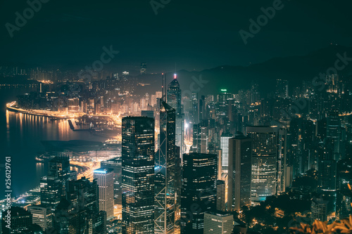 Hong Kong Cityscape at night view from The Peak