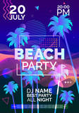beach party futuristic poster design with palm trees abstract wave lines geometric shapes