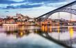 Leinwanddruck Bild - Porto, Portugal old city skyline from across the Douro River