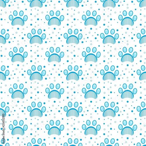 obraz lub plakat Paw print seamless vector pattern