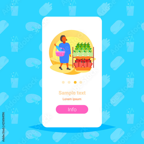 woman customer holding basket choosing food big grocery shop supermarket girl buyer super market shopping concept full length flat copy space - 256164196