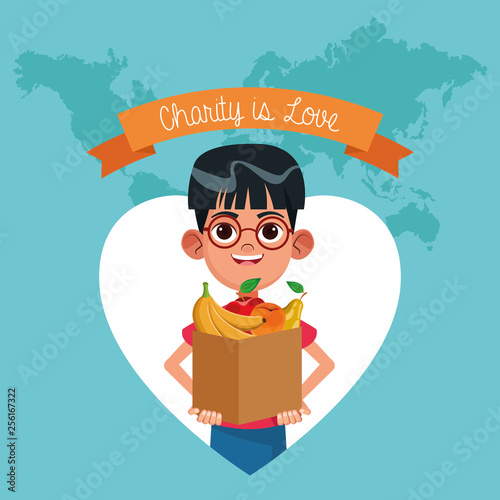 Charity is love cartoon - 256167322