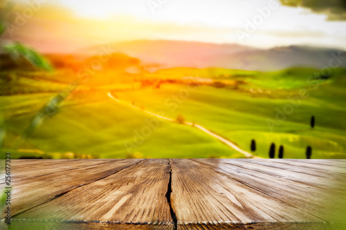 Desk of free space for your decoration and spring landscape of tuscany  - 256177323