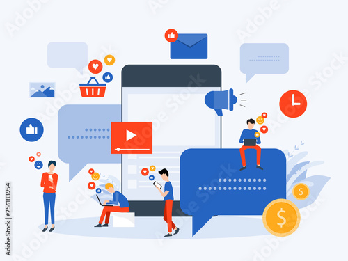 flat Vector illustration social media  and digital marketing  online connection concept with business people character use mobile  concept
