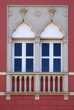 Venetian windows on the historic house in Novigrad, Croatia