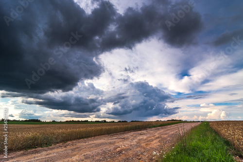 Image of dark Storm clouds in Lithuania - 256187132