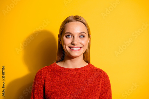 Leinwanddruck Bild Close-up portrait of her she nice-looking attractive winsome lovable fascinating cheerful cheery teen girl isolated over bright vivid shine orange background