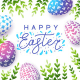 Easter greeting card with color eggs - 256191157