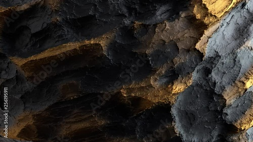 3d render of abstract surface. Dark and yellow colors. Gold like material on high detailed displaced surface. Loopable rotation.