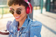 African urban girl with headphones