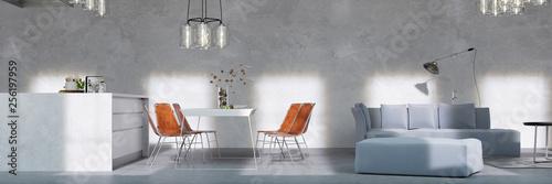 Moderner Loft mit Esstisch in Wohnküche © Robert Kneschke