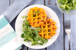Leinwanddruck Bild - sweet potato waffle and salad