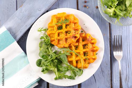 Leinwanddruck Bild sweet potato waffle and salad