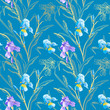 Floral seamless pattern. Flower iris background. Floral seamless texture with flowers. - 256200958