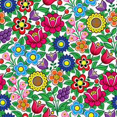 Floral seamless Polish folk art vector pattern - traditional design with flowers and leaves from Zalipie in Poland