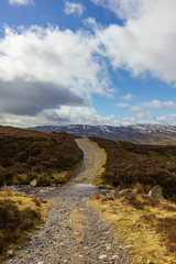 A mountain stream crossing a trail path under a majestic blue sky and white clouds © Dolwolfian