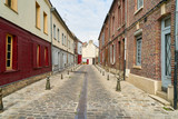 Empty narrow street in old town of Amiens