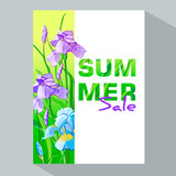 Summer sale banner with blue and purple flowers, flower iris design for banner, flyer, invitation, poster, placard, web site or greeting card. Vector illustration