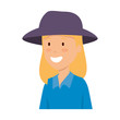 tourist woman with hat character