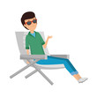 tourist man sitting in chair character