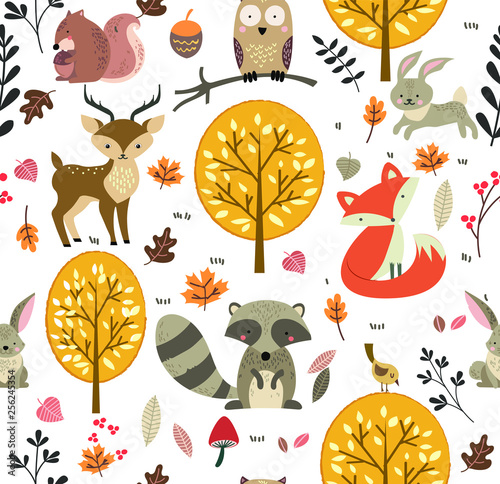 fototapeta na ścianę Forest Animals seamless pattern background
