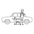 tourist man with suitcases and taxi character