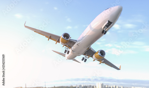 Commercial Airplane close fly by