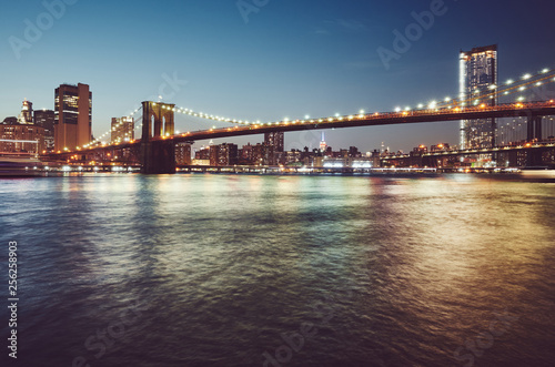 obraz lub plakat Brooklyn Bridge at blue hour, color toned picture, New York City, USA.