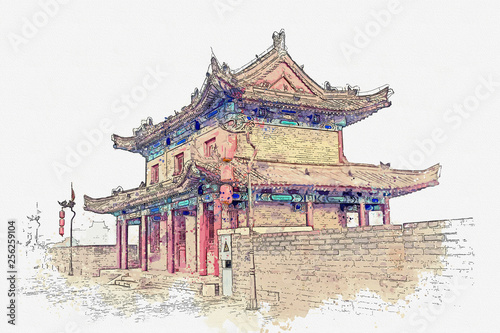 Watercolor sketch or illustration of the view of the ancient temple on the ancient city walls of Xian in China